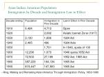 asian indian american population immigration by decade and immigration law in effect