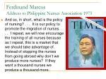 ferdinand marcos address to philippine nurses association 1973