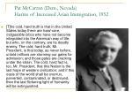pat mccarran dem nevada harms of increased asian immigration 1952