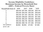 income eligibility guidelines maximum income by household size 200 federal poverty rate