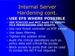 internal server hardening cont