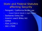 state and federal statutes affecting security