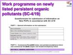 work programme on newly listed persistent organic pollutants sc 4 19