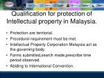 qualification for protection of intellectual property in malaysia