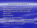 overview for exam 1