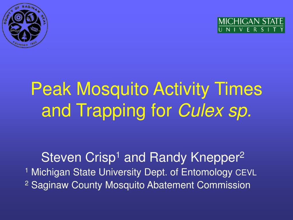 peak mosquito activity times and trapping for culex sp l.