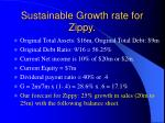 sustainable growth rate for zippy