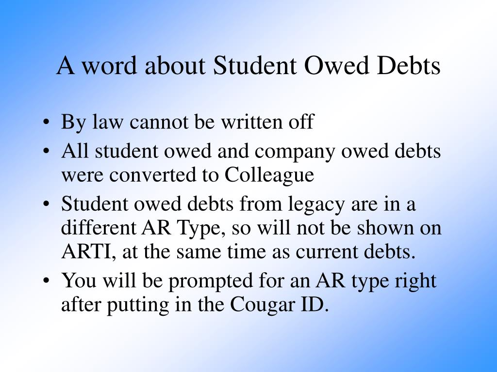 A word about Student Owed Debts