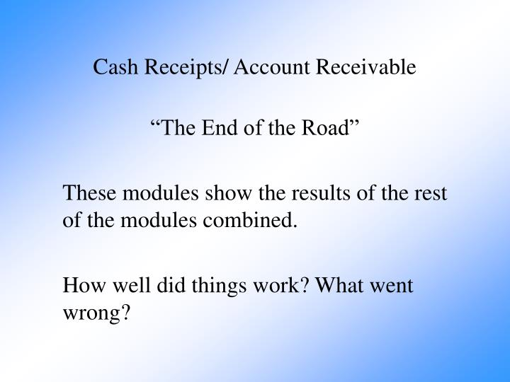 Cash receipts account receivable