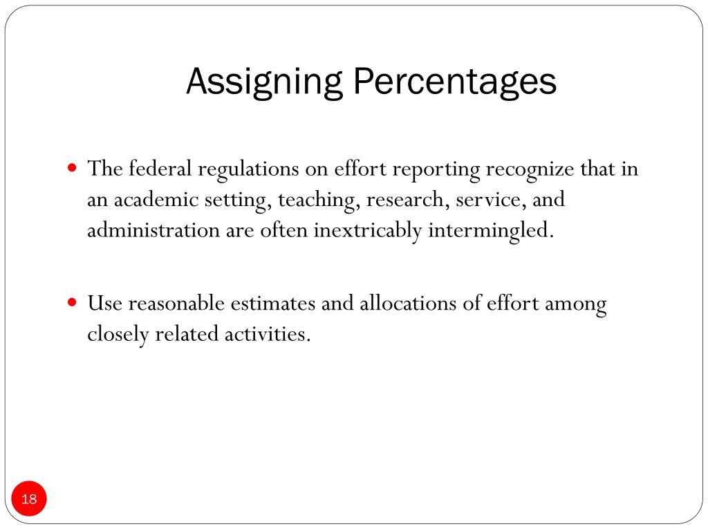Assigning Percentages