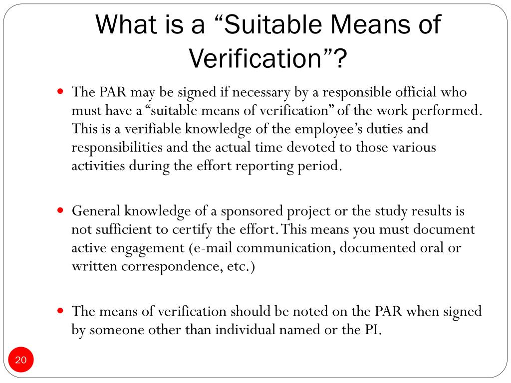 """What is a """"Suitable Means of Verification""""?"""