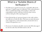what is a suitable means of verification