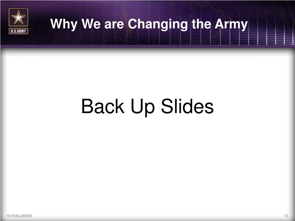 Why We are Changing the Army