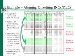 example aligning offsetting incs decs