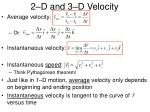 2 d and 3 d velocity