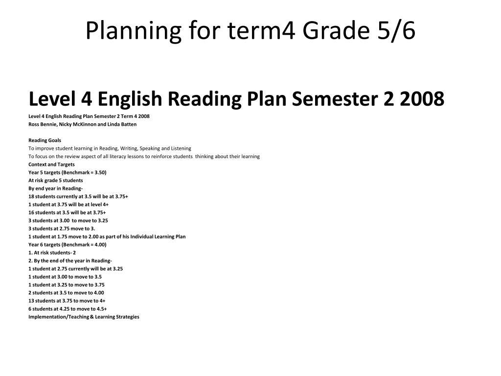 Planning for term4 Grade 5/6