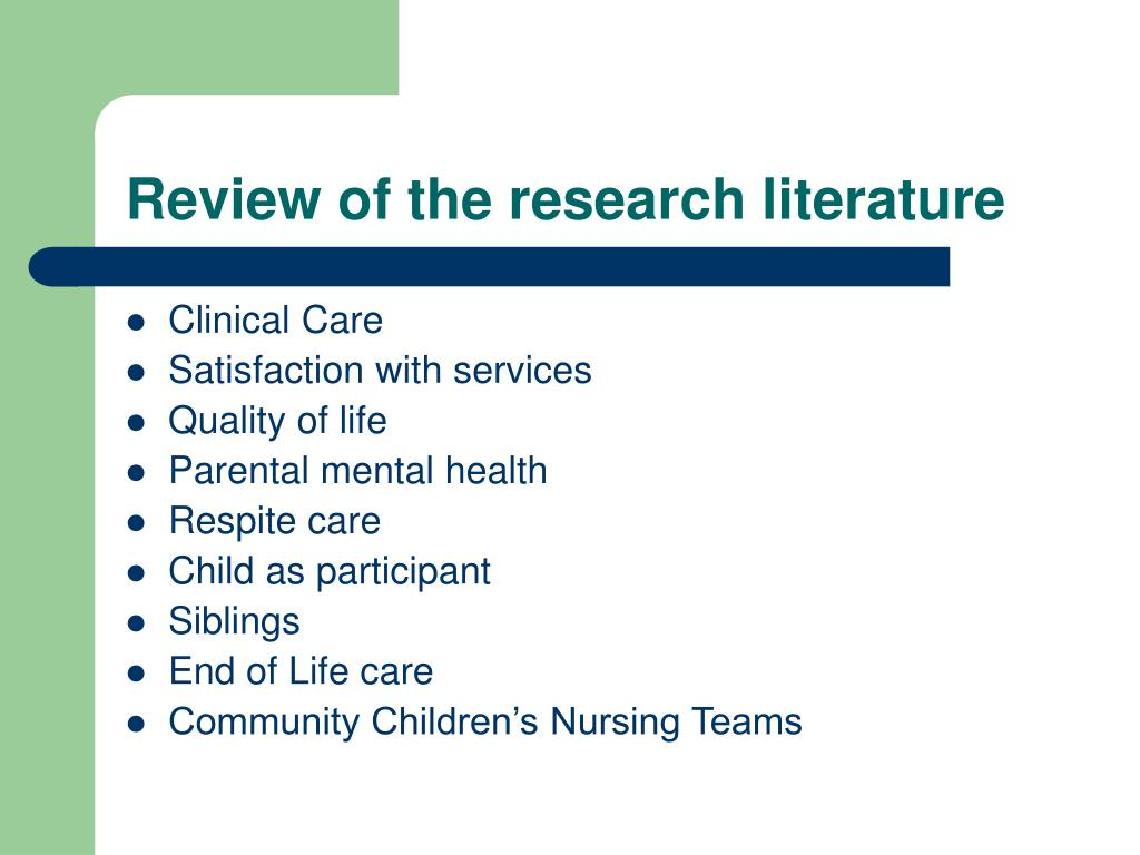 Review of the research literature