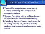 benefits to associating company