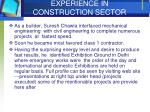 experience in construction sector