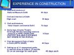 experience in construction