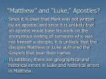 matthew and luke apostles
