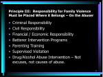 principle iii responsibility for family violence must be placed where it belongs on the abuser