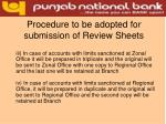 procedure to be adopted for submission of review sheets13