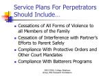 service plans for perpetrators should include