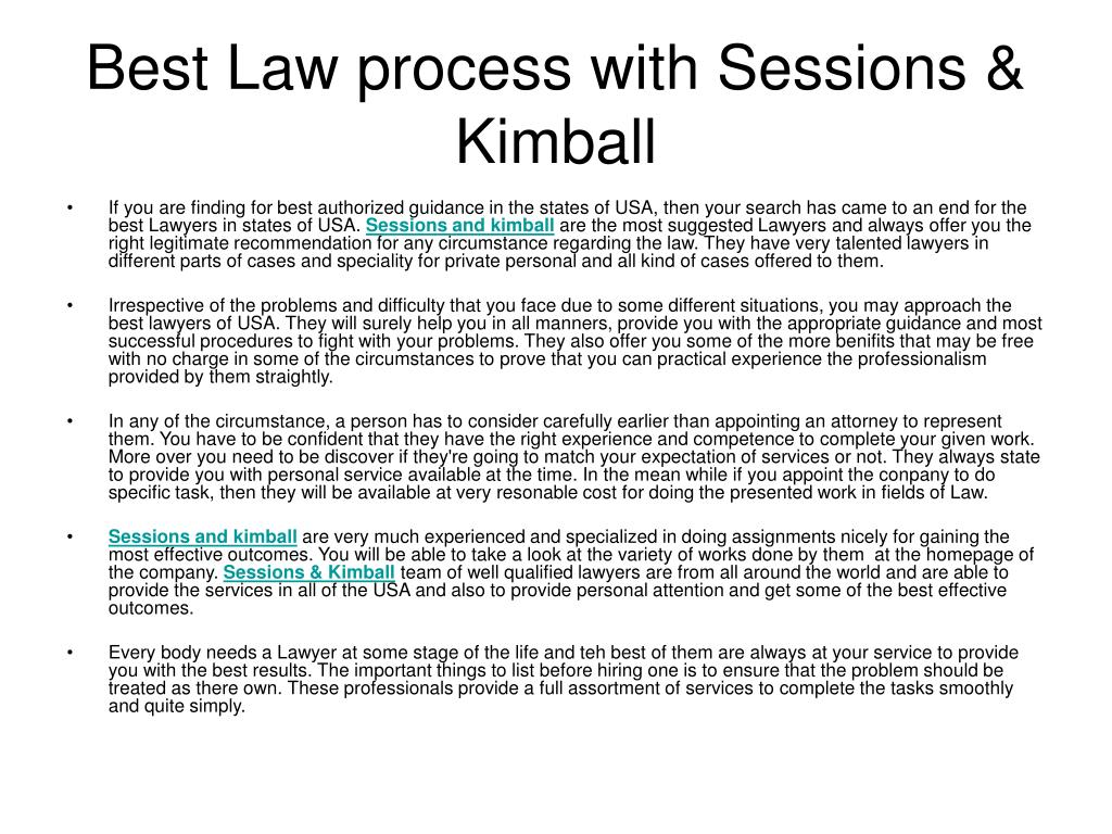 best law process with sessions kimball l.