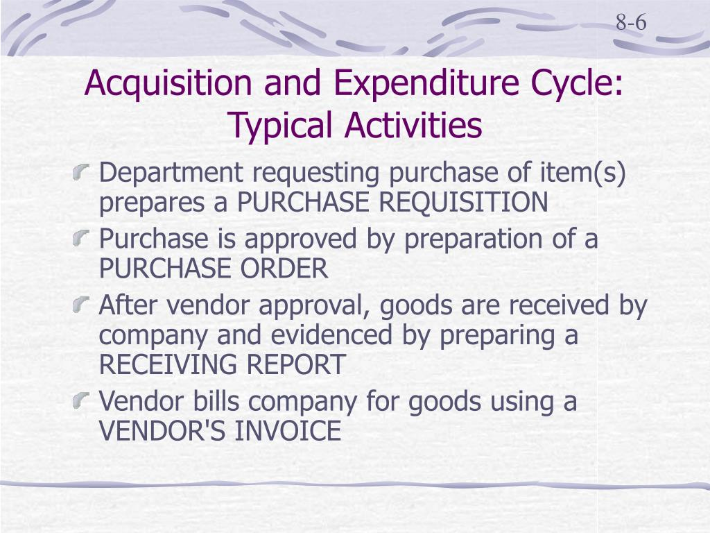 Acquisition and Expenditure Cycle: Typical Activities
