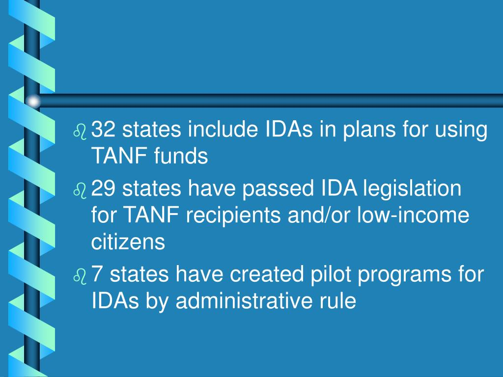 32 states include IDAs in plans for using TANF funds