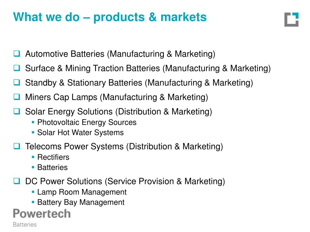 What we do – products & markets
