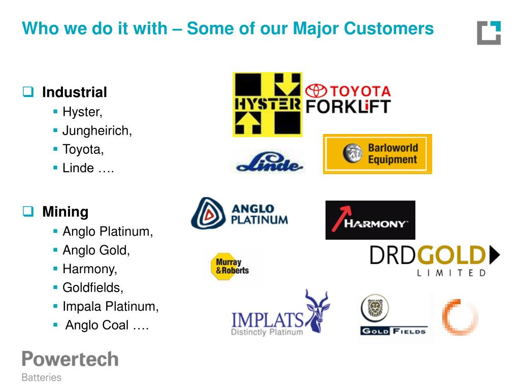 Who we do it with – Some of our Major Customers