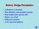 battery design parameters