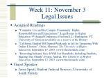 week 11 november 3 legal issues