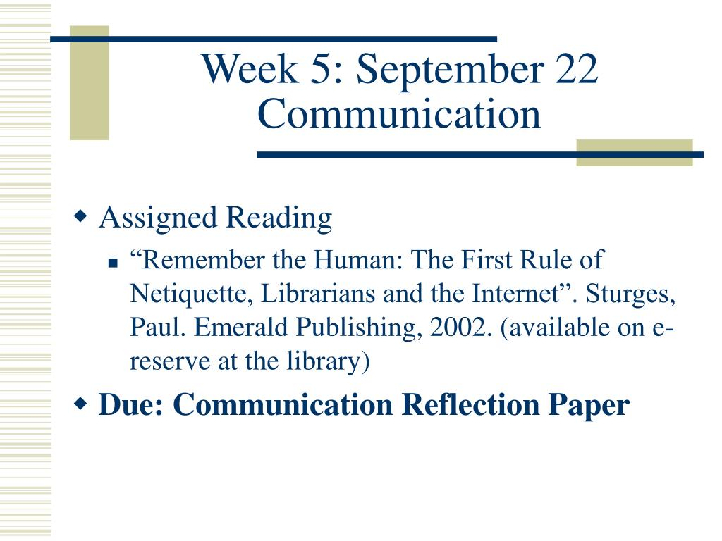 communication reflection paper