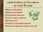 audit evidence procedures for cash receipts
