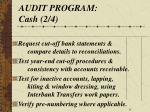 audit program cash 2 4