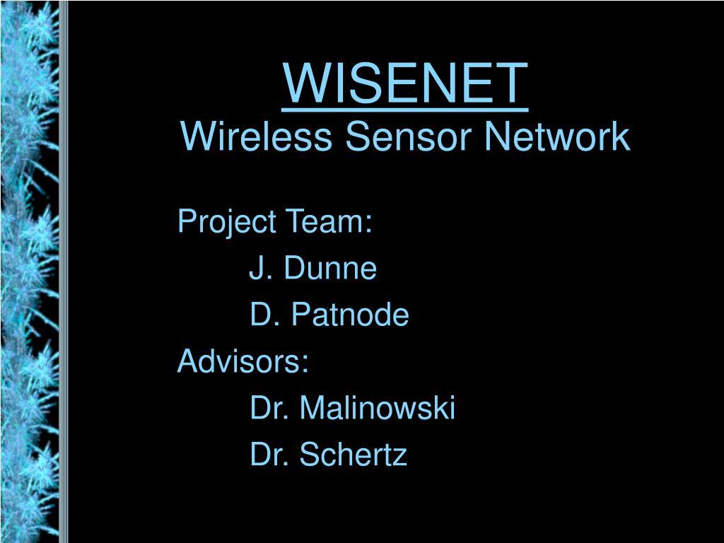 wisenet wireless sensor network l.