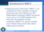 introduction to mscu
