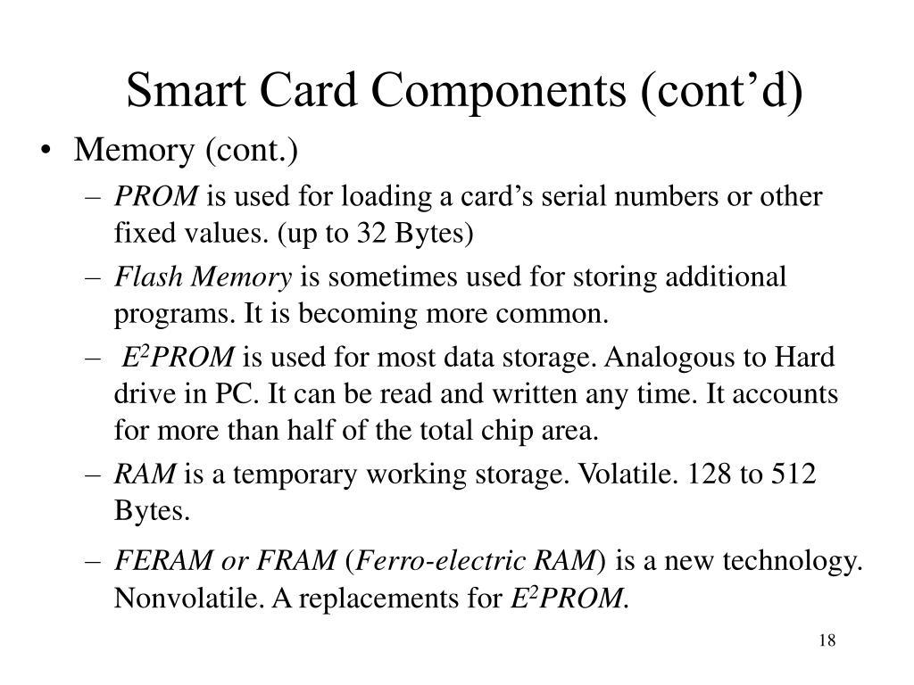 Smart Card Components (cont'd)