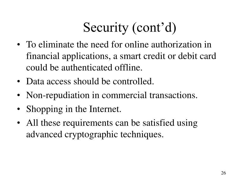 Security (cont'd)