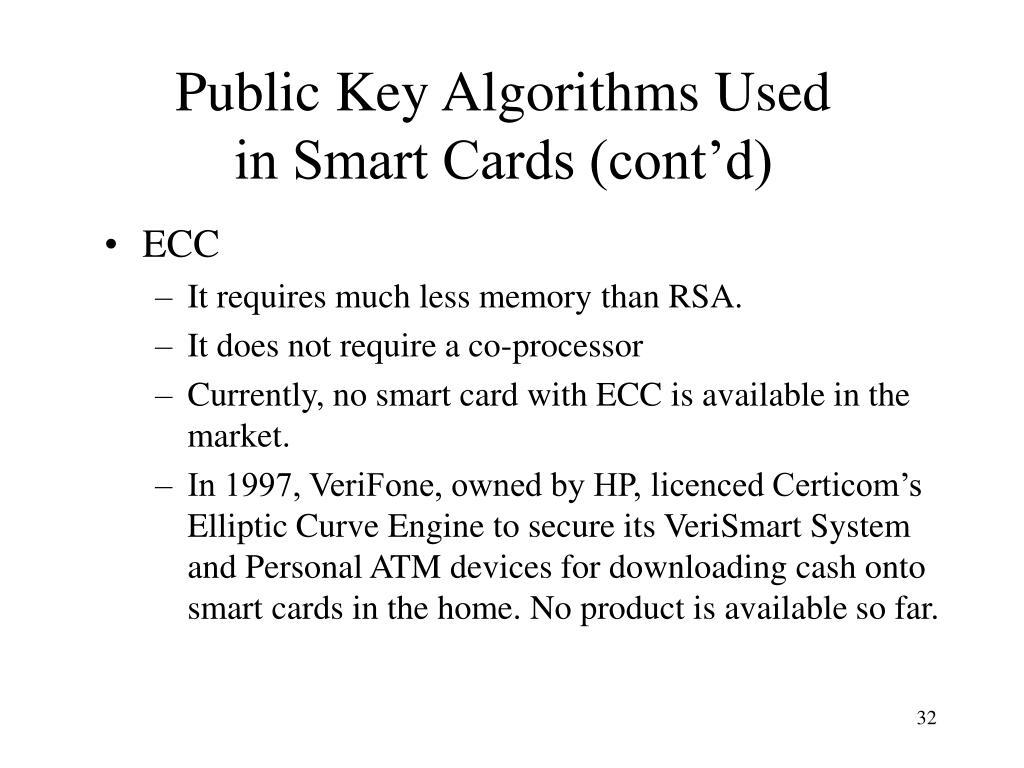 Public Key Algorithms Used