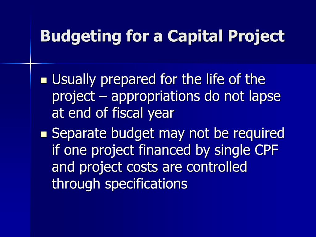 Budgeting for a Capital Project