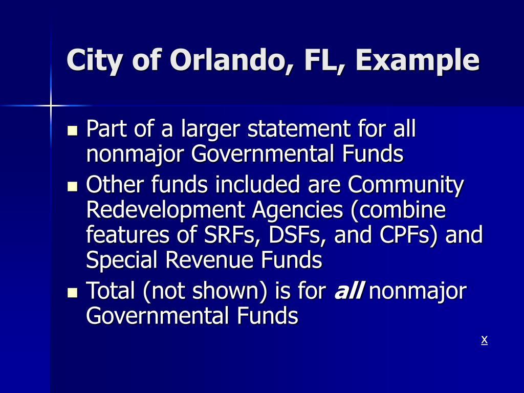 City of Orlando, FL, Example