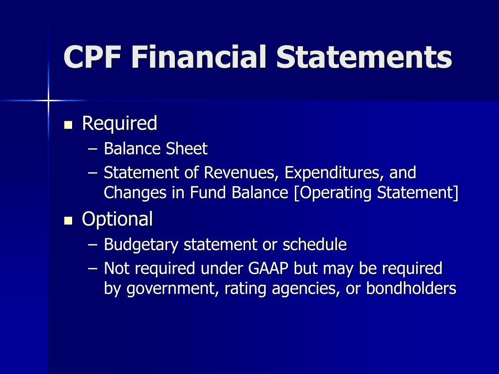 CPF Financial Statements