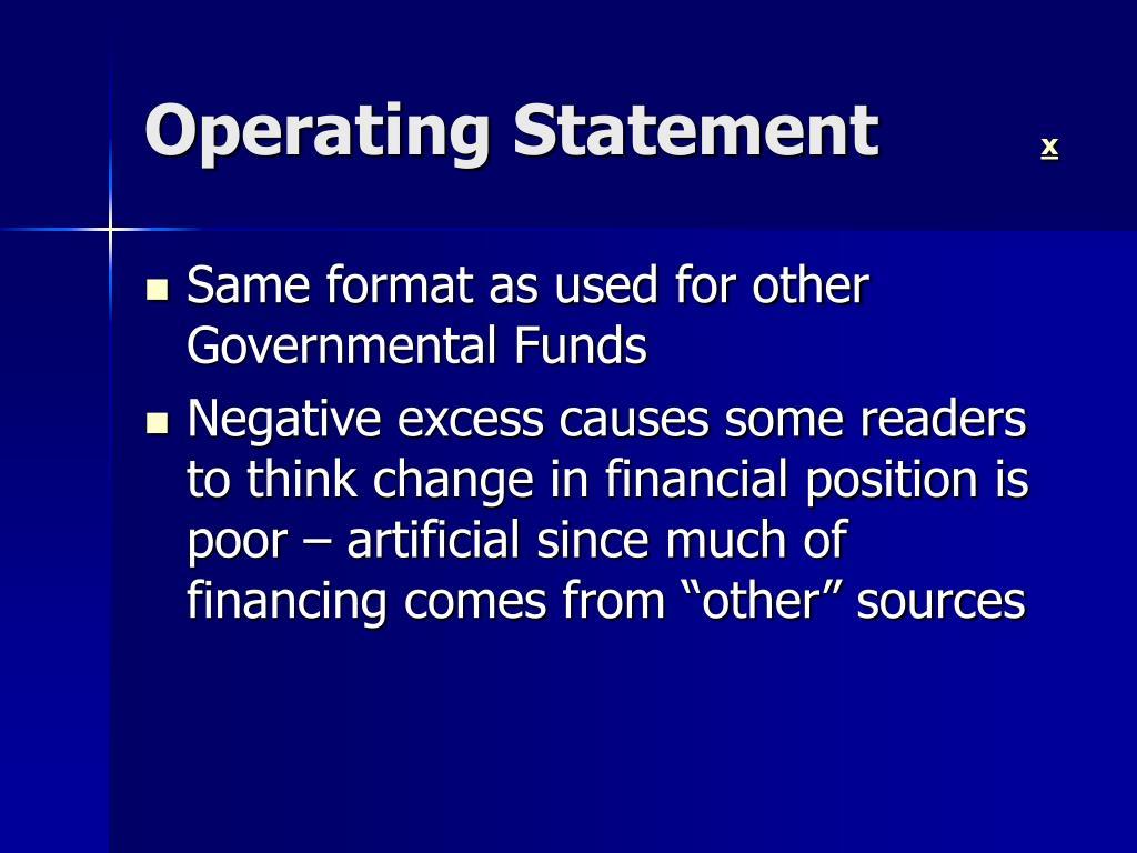Operating Statement