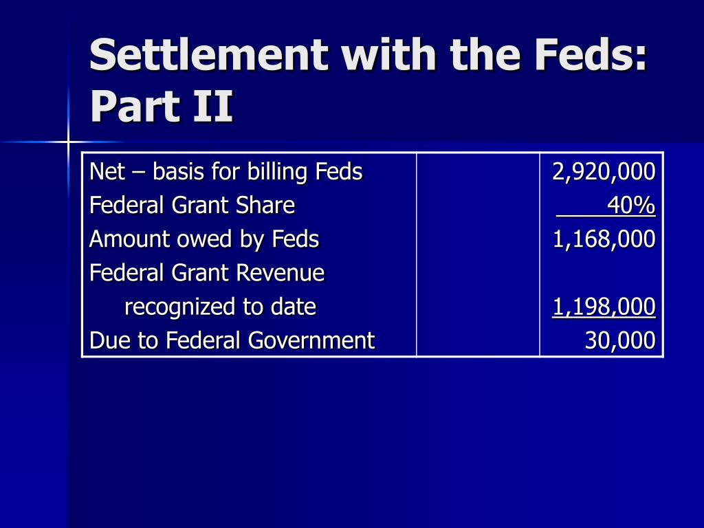 Settlement with the Feds: Part II