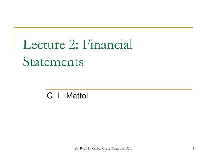 lecture 2 financial statements n.