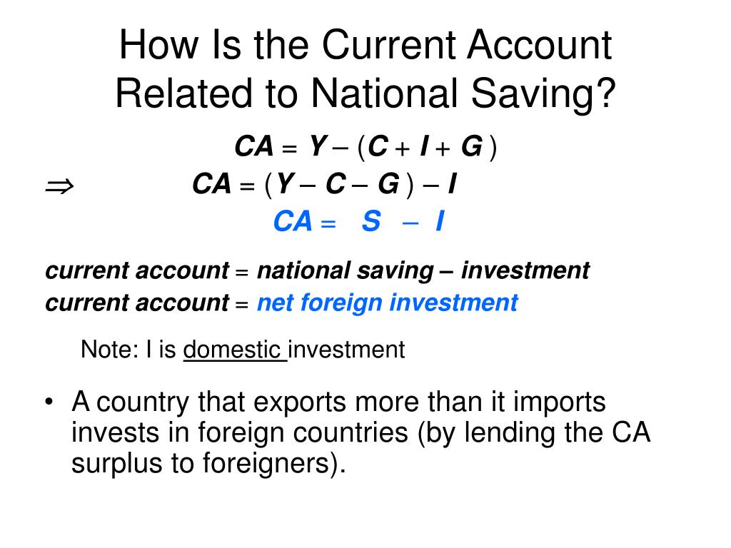 How Is the Current Account Related to National Saving?